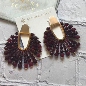 Kendra Scott Diane 14k maroon jade beaded earring